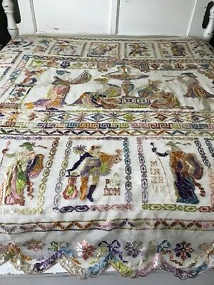 1900 Antique ribbon embroidered filet net Lace bed cover Coverlet Goddess French