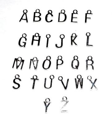 10 / 50 / 100 - Silver Plated Alphabet Letter Jewellery Craft Charms Pendant