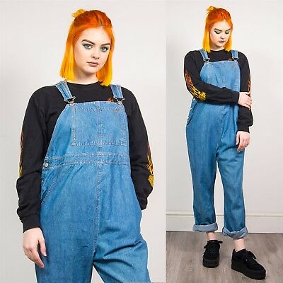 Womens Light Blue Denim Vintage Dungarees Maternity Overalls Wide Leg Casual 16