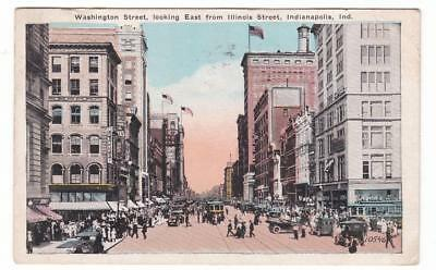 Indianapolis, Ind. postcard ~ Washington Street looking East from Illinois Stree
