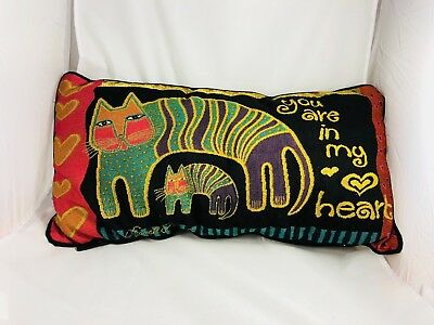 "Laurel Burch ""You are in my Heart"" Colorful Kitty Cat Tapestry Throw Pillow"
