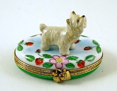 NEW FRENCH LIMOGES TRINKET BOX CUTE  WESTIE DOG PUPPY on STRAWBERRY BOX