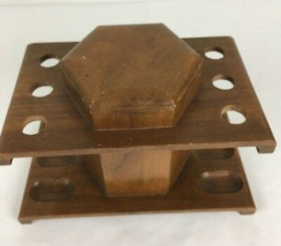 Vintage Wood 6 Pipe Rack Display Stand Holder Humidor Tobacco Box