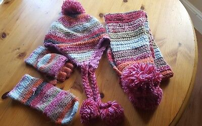 next multi stripe hat scarfe & glove set.