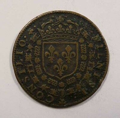 France Consilio Nilnisi Very Old Brass Jeton Crest with Crown above SCARCE