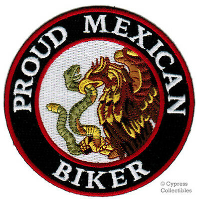 PROUD MEXICAN BIKER iron-on PATCH MEXICO FLAG EMBLEM LA RAZA embroidered NEW