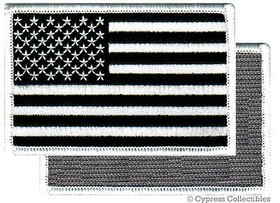 AMERICAN FLAG BIKER PATCH BLACK RIGHT embroidered USA w/ VELCRO® Brand Fastener