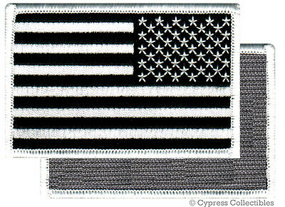 AMERICAN FLAG BIKER PATCH BLACK LEFT embroidered USA w/ VELCRO® Brand Fastener