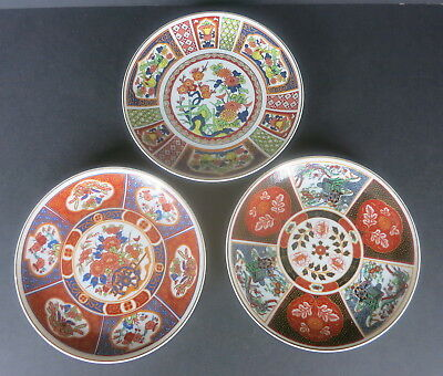 "3 Pc Vintage Asian Imari Design Style 6.5"" Wall Plaque Plates Made In Japan"