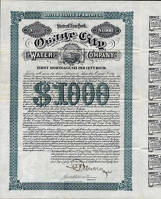 $1000 Osage City Water Co, Kansas, 1887, + 40 Coupons,uncancelled In Crisp Cond.