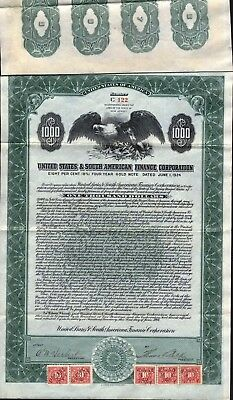 $1000 United States & Souther American Finance Corp Gold Bond, 1924 + 5 Coupons