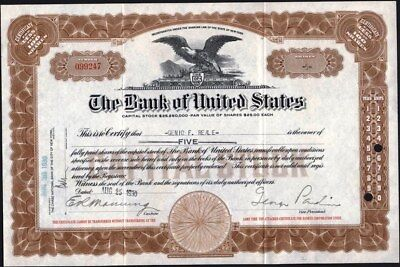 Bank Of United States, New York, 1930, Uncancelled Stock Certificate