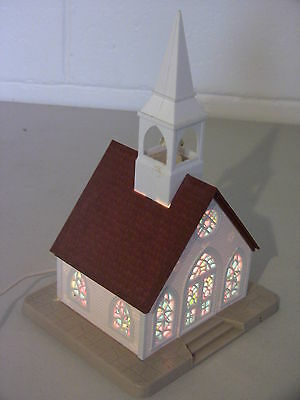 Vintage Christmas Putz Village Lighted Church Electric Light in Original Box