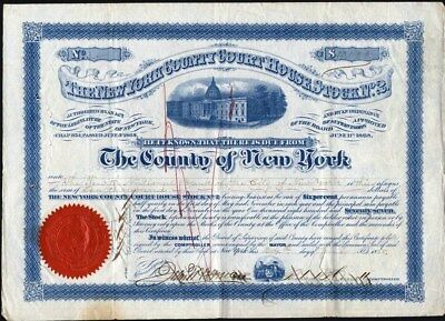 New York County Courthouse Stock No. 2, Of Ny, 1868 Signed Mayor & Comptroller