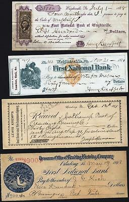 Pa:  Note + Stamp, 1868; First Natl Bk, 1870 + Receipt 1891 +Check Reading Brew