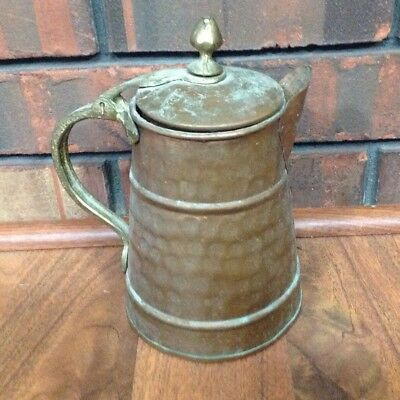 Vintage Hammered Solid Copper Coffee Pot Made in Turkey