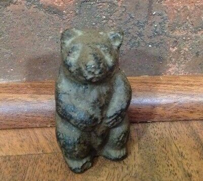 Antique or Vintage Heavy Cast Iron Standing Black / Brown Honey Bear Cub Figure