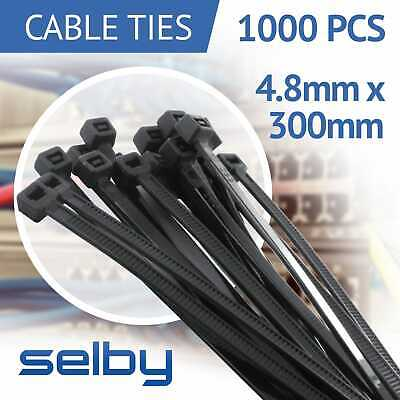1000pcs Cable Ties Zip Ties Black 4.8mm X 300mm Strong Nylon UV Stabilised
