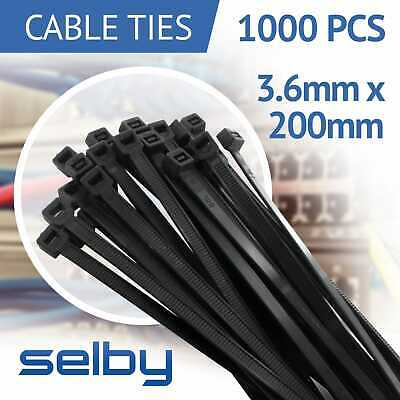 1000pcs Cable Ties Zip Ties Black 3.6mm X 200mm Strong Nylon UV Stabilised