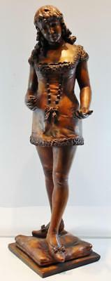 "Lg 31.5"" High C1890s French Hand Carved Wood Figure of Woman w/ Low Cut Dress"