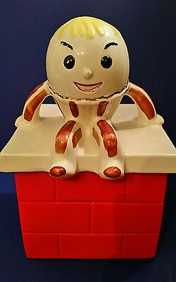 Humpty Dumpty Cookie Jar Vintage Red #707 Gold Trim