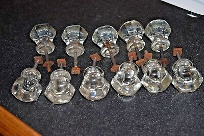 11 Vintage Crystal Clear Glass Cabinet Knobs Pulls Antique Furniture Drawer Lot