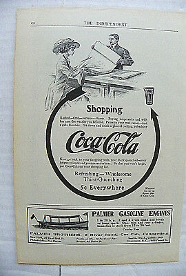 "1909,june The Independent ""shopping~Rushed-Tired"" Arrow - Woman At Shop To Glass"