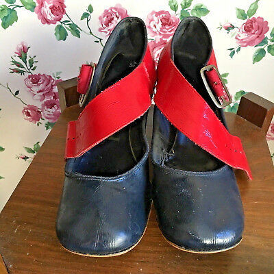 Vtg Blue Red Patent Mod Disco Block Heel Buckle Shoes Women's Ladies 1960s1970s