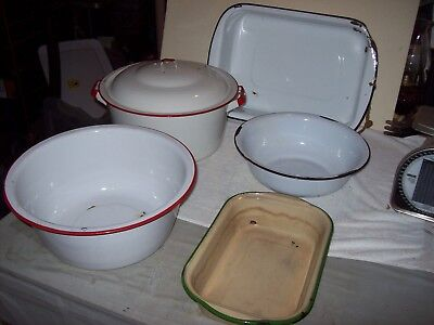 Lot of 6 Pieces  Old Vintage Kitchen Enamelware ~ Primitive Farmhouse Decor