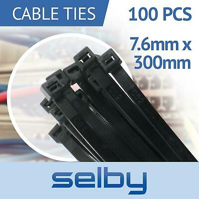 100pcs Cable Ties Zip Ties Black 7.6mm X 300mm Strong Nylon UV Stabilised
