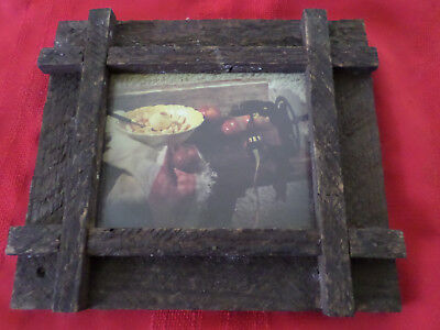 Vintage Rustic Wood Frame with Apple / Fruit Kitchen Picture