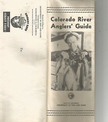 Colorado River Anglers' Guide & Map 1950s California Dept. of Fish & Game