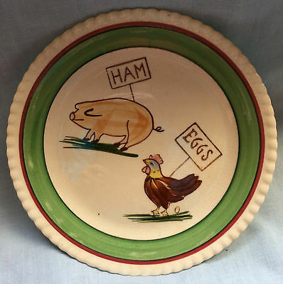 "Vintage BLUE RIDGE Pig Chicken HAM EGGS 8.25"" PLATE Southern Art Pottery"