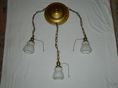 Antique Brass Three Light Hanging Milk Glass Fixture