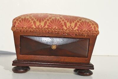 Antique Victorian Small Wooden Sewing Box Pin Cushion With Drawer On Bun Feet
