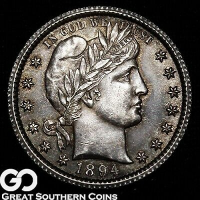 1894-O Barber Quarter, Attractively Toned Near Gem BU++ Better Date, * Free S/H!