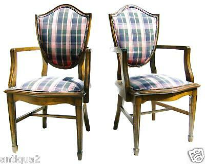 Pair Karpen English Hepplewhite Style Shield Back Carved Arm Chairs Walnut