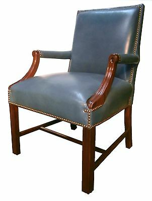 Hickory English Georgian Style Carved Mahogany Gray Blue Leather Lounge Chairs