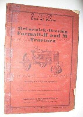 IHC McCORMICK-DEERING FARMALL H AND M TRACTOR PARTS LIST 1939 SHOP MANUAL GUIDE