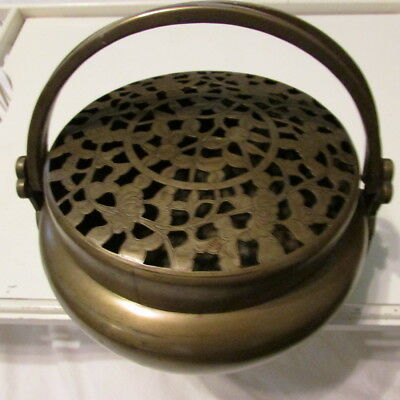 Antique Chinese Heavy Double Handle Brass Flowered Hand Warmer Incenser