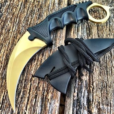 TACTICAL COMBAT KARAMBIT NECK KNIFE Survival Hunting BOWIE Fixed Blade GOLD.