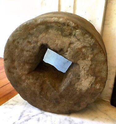 "Antique Mill Stone Grinding Wheel ~11 1/2"" tall x 4"" wide"