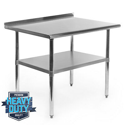 "Stainless Steel Kitchen Restaurant Work Prep Table with Backsplash - 24"" x 36"""