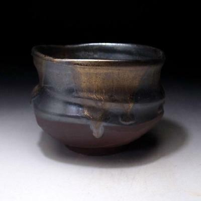 GF7 Japanese tea bowl, Seto ware by Famous potter, Eichi Kato, Gold & dark brown