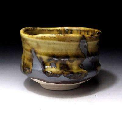 GF5: Japanese Tea Bowl, Seto Ware, Famous potter, Eichi Kato, Yello & Dark brown