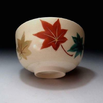 DR2: Japanese Hand-painted Tea Bowl of Kyo ware, Colorful maple leaf