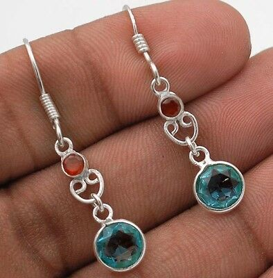 "Aquamarine 925 Solid Sterling Silver Earrings Jewelry 1 1/2"" Long"