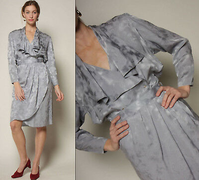 vtg 80s platinum SILK draped DEEP-V origami pleat minimal 2pc blouse + skirt set