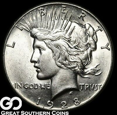 1928 Peace Dollar, Series Low Mintage, Nice White Solid Gem BU++ * Free Shipping