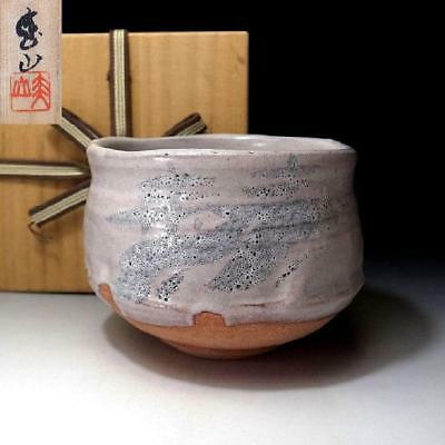 ZJ3: Vintage Japanese Pottery Tea bowl, Shino ware with Signed wooden box